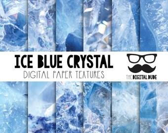 Premium Digital Paper Set, Frozen, Blue Crystal, Digital Paper, Scrapbook Paper, Crystal Texture, Instant Download