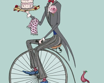 Penny Farthing Cake Delivery A4 Print