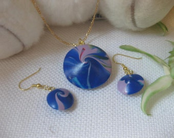 Blue Swirl Lentil Necklace and Earring Set
