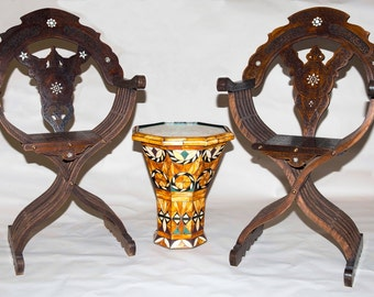 Antique Savonarola Chairs with Egyptian tabla table