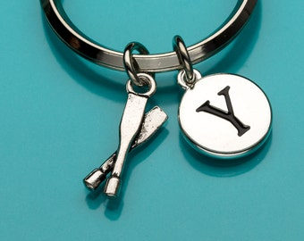 Oars Keychain, Oars Key Ring, Paddles Keychain, Rowing Key Chain, Boating Charm, Sports Charm, Personalized Keychain, Charm Keychain, 702