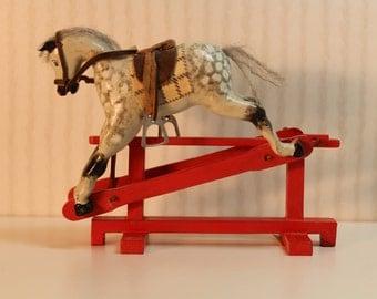 Miniature Rocking Horse Handmade Dollhouse Miniature Artist Signed J. Danbury in Glider Style