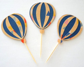 Set of 12 hot air balloon cupcake toppers