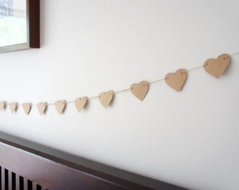 Rustic Kraft paper love heart garland || wedding engagement party baby shower baptism christening home decor nursery decor birthday party