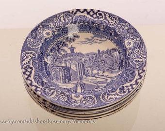 Six dishes, 6 bowls, dessert dish, fruit bowl, , blue and white, Midwinter's Landscape, 1950's, excellent condition,