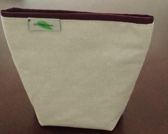Reusable sandwich bag, reusable snack bag, Eco friendly, Velcro zippered, cotton, back to school