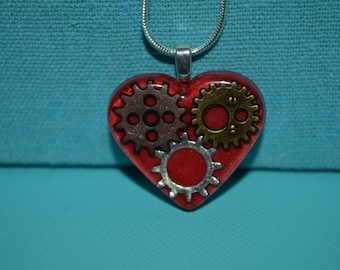 Steampunk Gears and Cogs Heart Necklace, Resin Jewelry