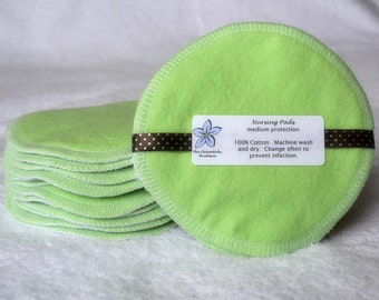 Cotton Nursing Pads, 1 pair (2 pads), Lime Green, Breast Pads, Reusable, Washable and Eco-Friendly, Many Colours Available