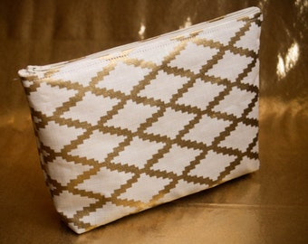 Gold and Cream Makeup Bag, Metallic, Cosmetic Bag, Pencil Pouch!