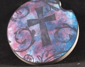CC-1110 Christian Cross With Pink, Blue and Purple Flourish Background Absorbent Ceramic Cup Holder Coaster