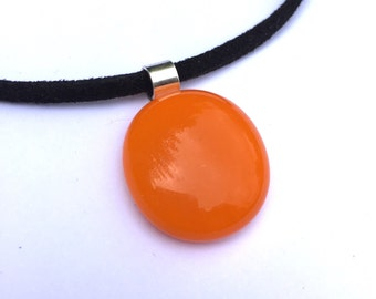 Orange pendant, orange necklace, orange jewellery, orange glass pendant, holiday necklace, fused glass pendant, tropical jewellery