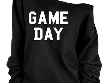 Game Day print oversized off shoulder raw edge  sweatshirt/game lovers/game club/pro gamer/