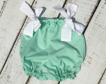 Beach Mint Romper, Baby Shower Gift, Bubble Romper, Baby Summer Clothes