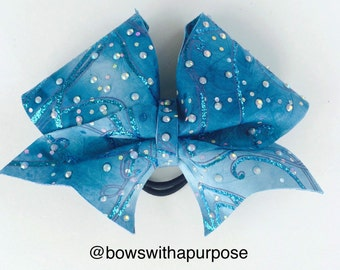 1118. Blue Itty Bitty Bow Babe Size Rhinestone and Glitter Cheer Bow