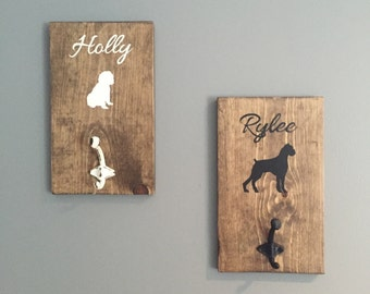 Dog Leash Hooks - Set of 2 - Personalized Pet Leash Holder - Pet Accessories - Choose Your Breed