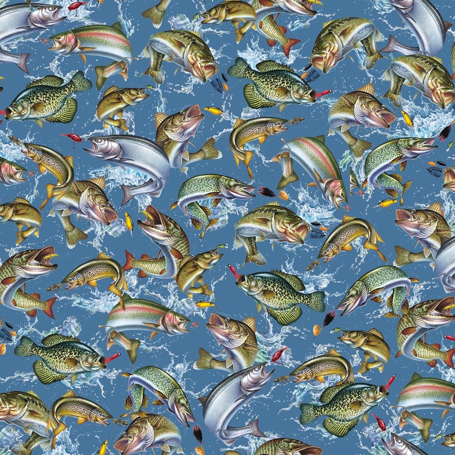 quilting treasures reel it in jumping fish blue 24032 b