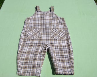 vintage baby gap brown plaid flannel romper size 12-18 months see measurements