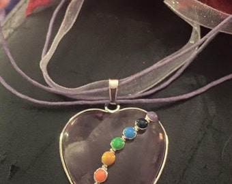 Amethyst quartz chakra stones pendant on lilac organza ribbon