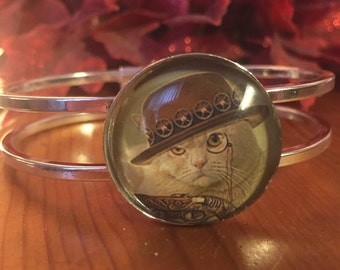 Steampunk cat in hat and monocle silver bangle