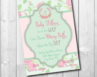 Floral Baby Shower Invitation wreath monogram/printable/Digital File/girl baby shower, baby girl, pastel, shabby chic/Wording can be changed