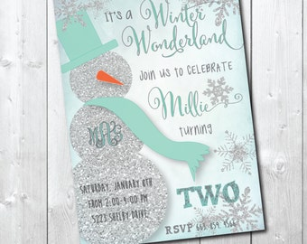 Adorable Winter Wonderland Birthday Invitation with Silver Glitter detail / DIGITAL FILE / printable/ wording and age can be changed