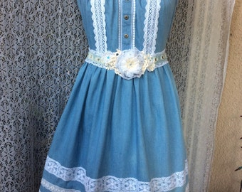 Blue Romantic  Dress w/ Linen Lace Upcycled sz S Handcrafte