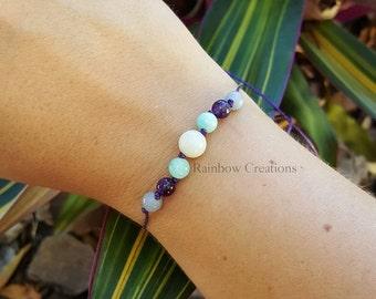Moonstone, Amazonite, Amethyst and Angelite Simplicity Bracelet