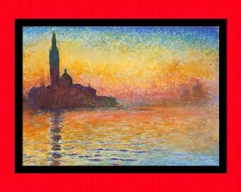 San Giorgio Maggiore at Dusk by Claude Monet Print - Fine Art Print Design Impressionism Monet Poster BUY 3 GET 1 FREE