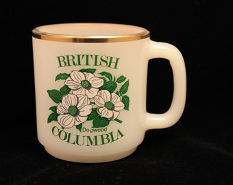 British Columbia Dogwood Mug Vintage Glasbake White Milk Glass Gold Trim Coffee Mug/Tea Cup