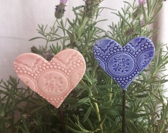 Heart Ceramic Garden Stakes in pink and blue on metal stake set of two