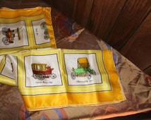 Silk Scarf Vintage 1960's Classic Cars Print Hand Rolled Yellow Cream Large Square Neck Head Shoulder -Acc064