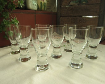 Cordial Glass Set Vintage 1960's Solid Bottom Small Glasses Barware Beverageware Glassware Serving Dining Entertaining - Bar050