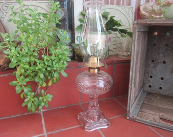 Oil Lamp Vintage 1920's Plume & Atwood Mfg Co. Molded Square Base Hurricane Depression Glass Lamp Lighting Home Decor - HD012