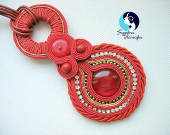 Soutache Jewelry Pendant,Red Neckles,Large Red Pendent, Glamour , Hand made jewelery, Oriental