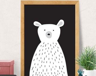 Bear print, Nursery wall art, Modern Nursery decor, cute print, cute nursery, polar bear print, Nursery wall decor, Kids room decor, Minimal