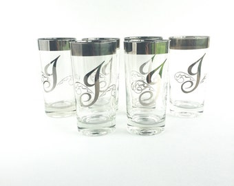 Vintage Monogram 'J' Silver Rim Tumblers, Mid Century Dorothy Thorpe Style Letter 'J' Highball Glasses Set of 6
