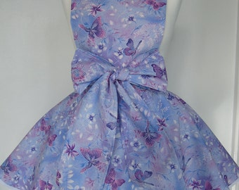 Beautiful unique Vintage Style Lilac Butterfly Full Apron