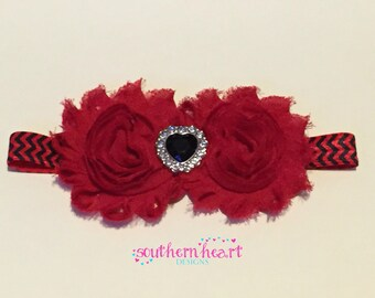 Shabby Flower Headband, Baby Headband, Red & Black Headband
