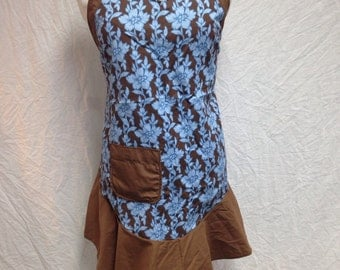 Blue and brown flower apron