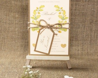 Rustic Wedding Invitation Woodland Wreath Autumn Wedding Fall Wedding Invite Handmade Invitation Acorn Country Wedding Custom Twine and Tag