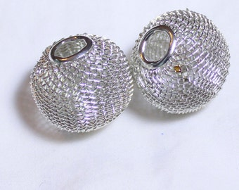 50* 25mm Silver Wire Mesh Beads Basketball Wives Large hole fits bracelet