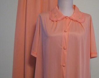 1960s Pajamas Henson Peach Kickernick Nylon / 1960s Peach Pajamas