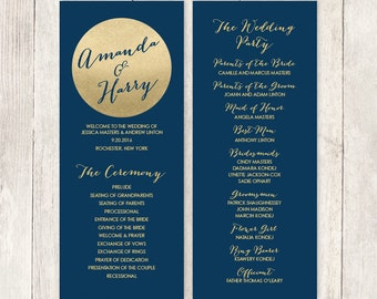 Gold Wedding Program / Gold Sparkle Glitter / Metallic Gold and Navy / Bridal Party, Schedule ▷ Printable File {or} Printed & Shipped