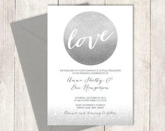 Silver Sparkle Wedding Invitation DIY / Sparkle Glitter Circle Metallic Silver and Gray / Steel Gray Printable PDF ▷ Invite Printable
