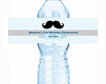 """20 Mustache and Stripes Personalized Water Bottle Labels - Select the quantity you need below in the """"Pricing & Quantity"""" option tab"""