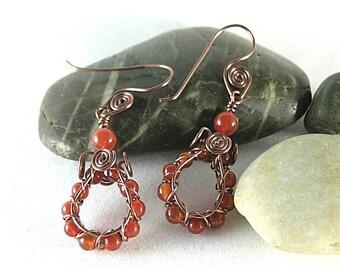 Carnelian Spiral Wire Hoop Earrings - Aztec Egyptian Native American