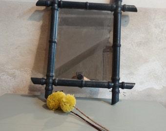 Glittery black bamboo mirror