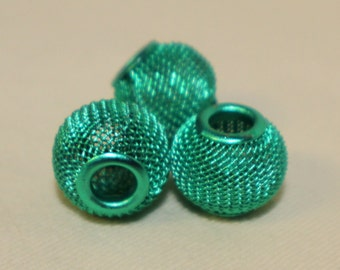 Basket Weave Metallic Euro Style Beads 14 mm by 12 mm Lot of 3 Turquoise