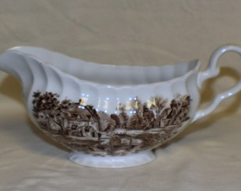 Cotswold Brown Johnson Brothers Sauce or Gravy Boat Stoke on Trent China