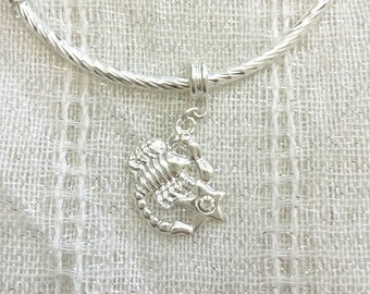 Scorpio Scorpion Rhinestone Charm Silver Plated Lined Bangle Bracelet 7.5 Inches